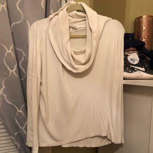 White cow neck longsleeve shirt